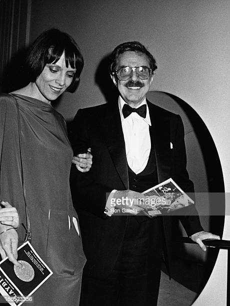 Producer David Merrick and wife Etan Aronson attend 37th Annual Tony Awards on June 5 1983 at the Uris Theater in New York City