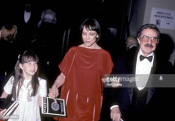 Producer David Merrick wife Etan Aronson and his daughter Celia Merrick attend the 37th Annual Tony Awards on June 5 1983 at Uris Theatre in New York...