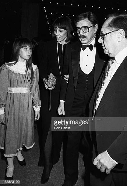 Producer David Merrick wife Etan Aronson daughter Cecilia Ann Merrick and agent Lee Solters attend the performance of 42nd Street on February 10 1984...