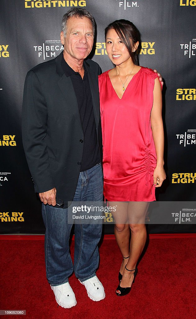 Producer David Permut (L) and Serenity Media Group president/CEO Christie Hsiao attend a screening of Tribeca Film's 'Struck By Lightning' at Mann Chinese 6 on January 6, 2013 in Los Angeles, California.
