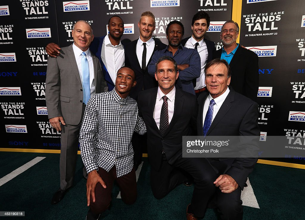 Producer David Zelon, actors Ser'Darius Blain, Alexander Ludwig, director Thomas Carter, actor <a gi-track='captionPersonalityLinkClicked' href=/galleries/search?phrase=Matthew+Daddario&family=editorial&specificpeople=10127134 ng-click='$event.stopPropagation()'>Matthew Daddario</a>, Terry Eidson (Bottom L-R) actors Jessie Usher, Jim Caviezel and former coach Bob Ladouceur attend the premiere of Tri Star Pictures' 'When The Game Stands Tall' at ArcLight Cinemas on August 4, 2014 in Hollywood, California.