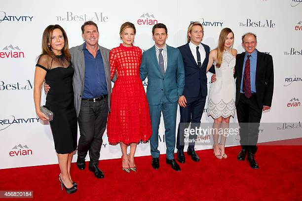 Producer Denise Di Novi novelist Nicholas Sparks and actors Michelle Monaghan James Marsden Luke Bracey and Liana Liberato and director Michael...