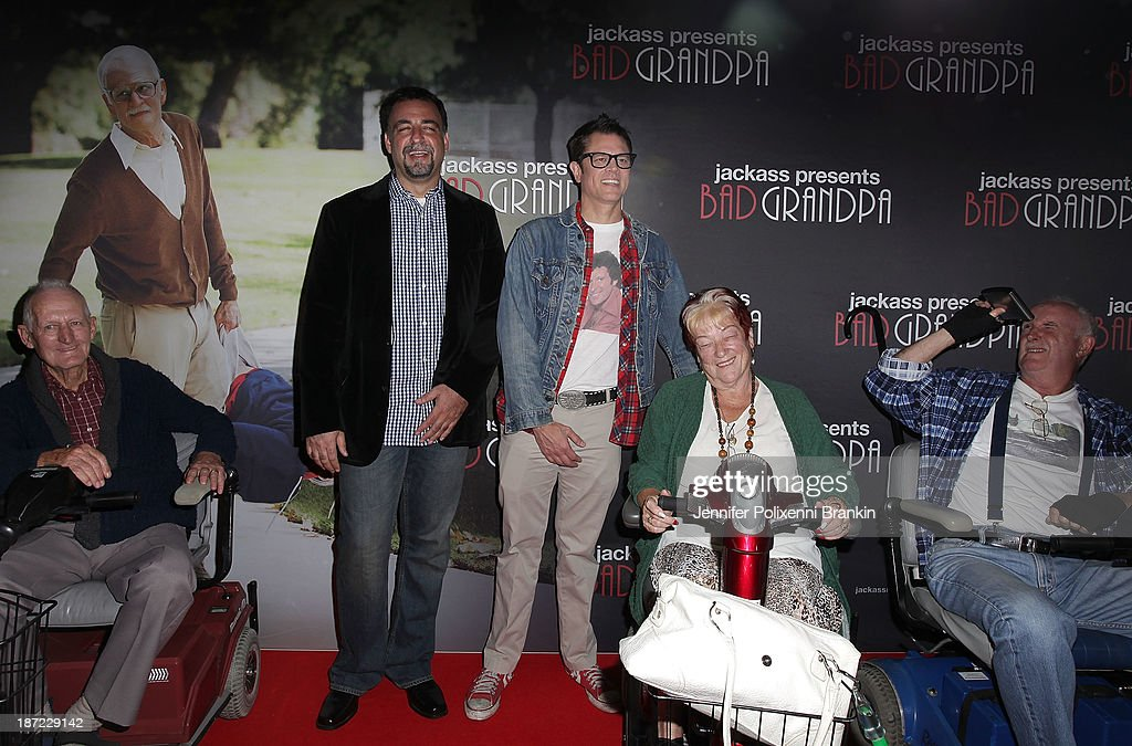 Producer Derek Freda (2nd L) and <a gi-track='captionPersonalityLinkClicked' href=/galleries/search?phrase=Johnny+Knoxville&family=editorial&specificpeople=206210 ng-click='$event.stopPropagation()'>Johnny Knoxville</a> (3rd L) attend the Australian premiere of 'Jackass Presents: Bad Grandpa' at Event Cinemas, George Street on November 7, 2013 in Sydney, Australia.