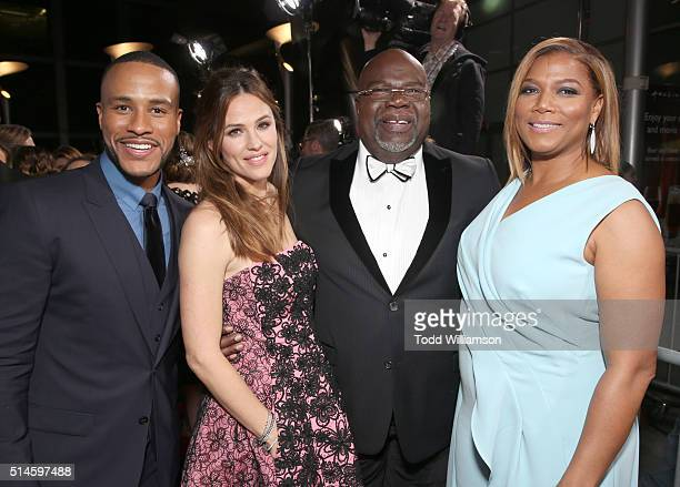 Producer DeVon Franklin actress Jennifer Garner producer Bishop TD Jakes and actress Queen Latifah attend the Premiere Of Columbia Pictures'...