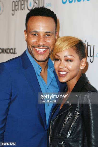 Producer DeVon Franklin and actress Meagan Good arrives at the Generosityorg Fundraiser For World Water Day at the Montage Hotel on March 21 2017 in...