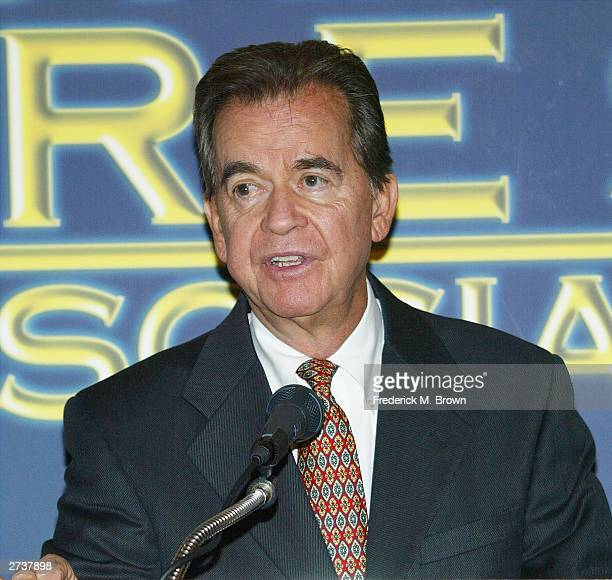Producer Dick Clark speaks during the Hollywood Foreign Press Association press conference announcing Michael Douglas will be honored with the 2004...