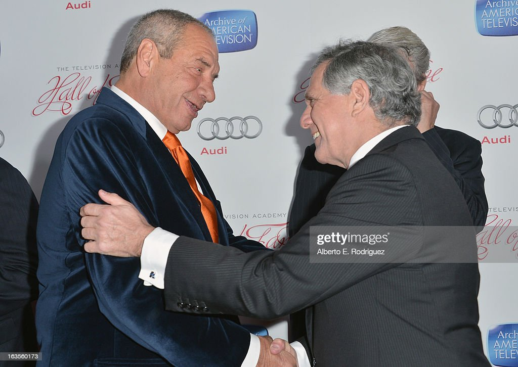 Producer Dick Wolf and President and Chief Executive Officer of CBS Corporation Leslie Moonves attend the Academy of Television Arts & Sciences' 22nd Annual Hall of Fame Induction Gala at The Beverly Hilton Hotel on March 11, 2013 in Beverly Hills, California.