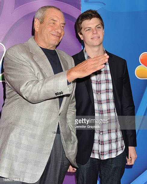 Producer Dick Wolf and son Elliot Wolf attends the 2013 NBC Upfront Presentation Red Carpet Event at Radio City Music Hall on May 13 2013 in New York...
