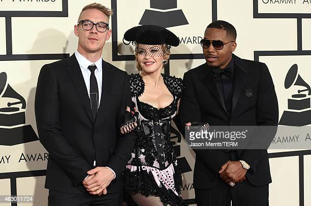 Producer Diplo singer Madonna and rapper Nas attend The 57th Annual GRAMMY Awards at the STAPLES Center on February 8 2015 in Los Angeles California