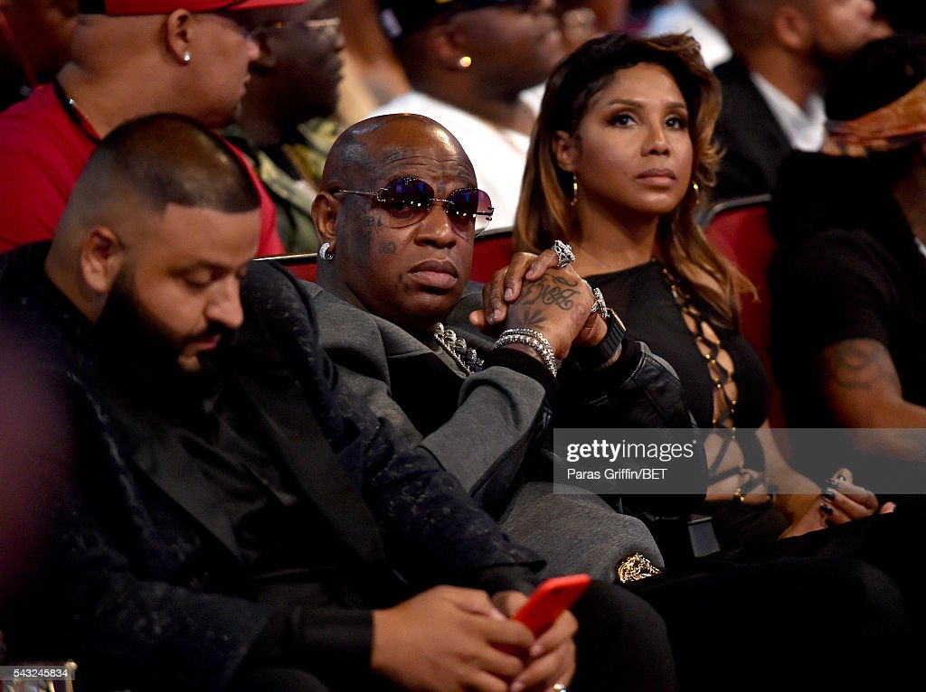 Producer <a gi-track='captionPersonalityLinkClicked' href=/galleries/search?phrase=DJ+Khaled&family=editorial&specificpeople=577862 ng-click='$event.stopPropagation()'>DJ Khaled</a>, recording artists Birdman and <a gi-track='captionPersonalityLinkClicked' href=/galleries/search?phrase=Toni+Braxton&family=editorial&specificpeople=213737 ng-click='$event.stopPropagation()'>Toni Braxton</a> attend during the 2016 BET Awards at the Microsoft Theater on June 26, 2016 in Los Angeles, California.