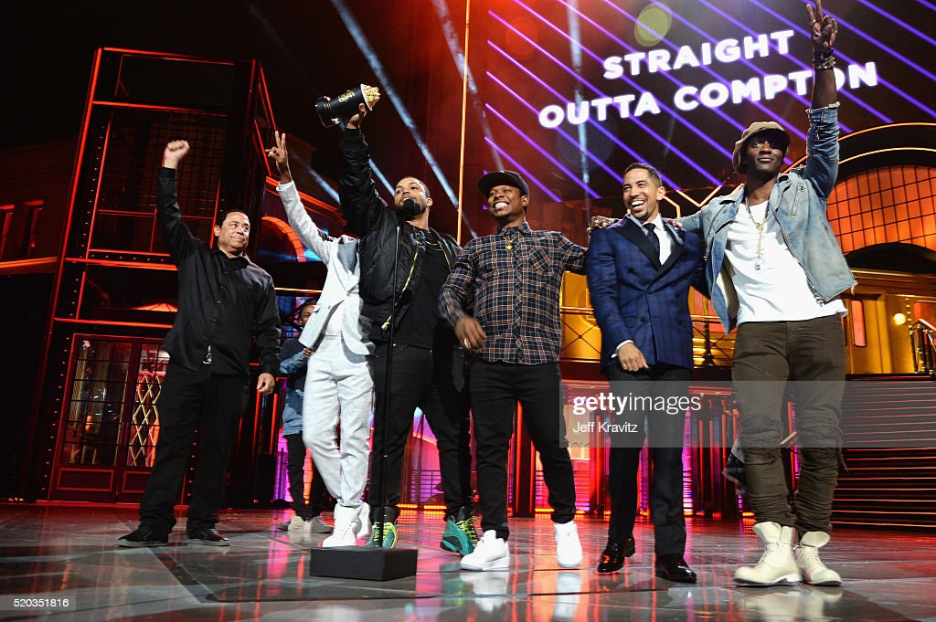 Producer DJ Yella, and actors Corey Hawkins, O'Shea Jackson Jr., Jason Mitchell, Neil Brown Jr. and Aldis Hodge accept the award for True Story for 'Straight Outta Compton' onstage during the 2016 MTV Movie Awards at Warner Bros. Studios on April 9, 2016 in Burbank, California. MTV Movie Awards airs April 10, 2016 at 8pm ET/PT.