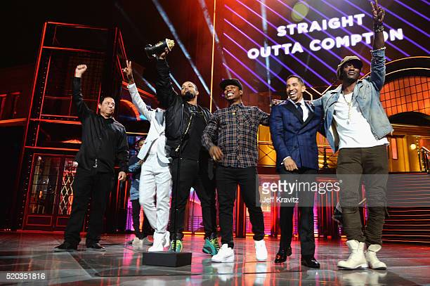 Producer DJ Yella and actors Corey Hawkins O'Shea Jackson Jr Jason Mitchell Neil Brown Jr and Aldis Hodge accept the award for True Story for...
