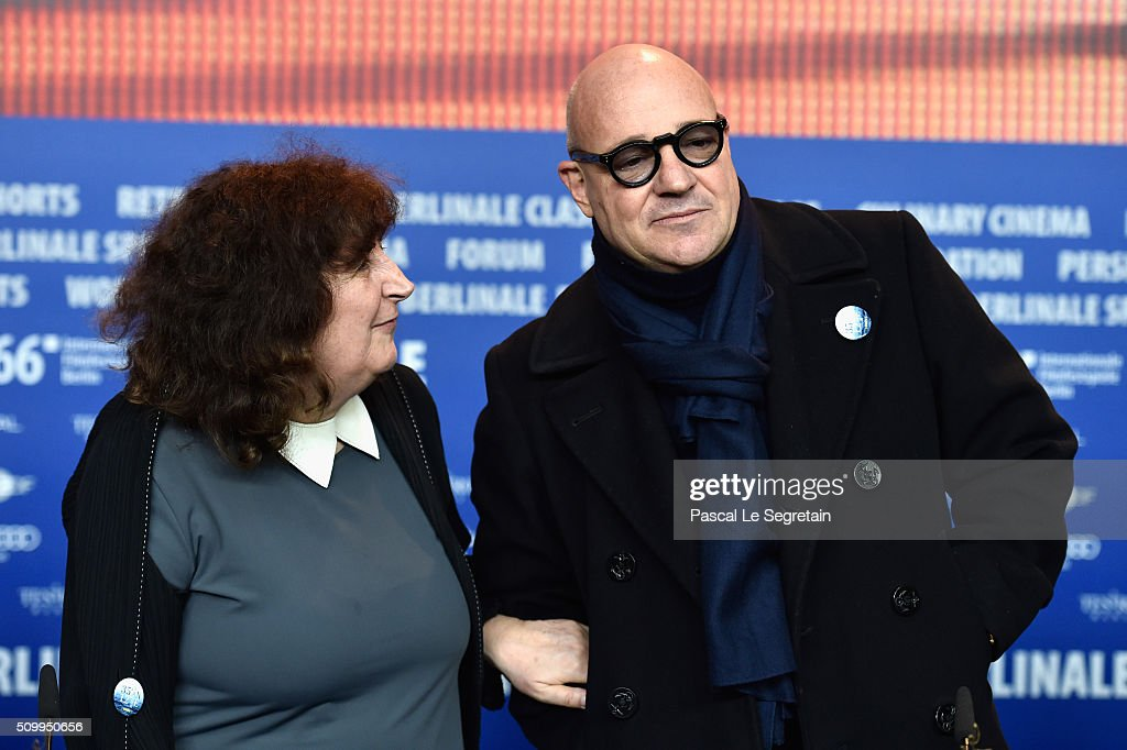 Producer Donatella Palermo (L) and director Gianfranco Rosi attend the 'Fire at Sea' (Fuocoammare) press conference during the 66th Berlinale International Film Festival Berlin at Grand Hyatt Hotel on February 13, 2016 in Berlin, Germany.