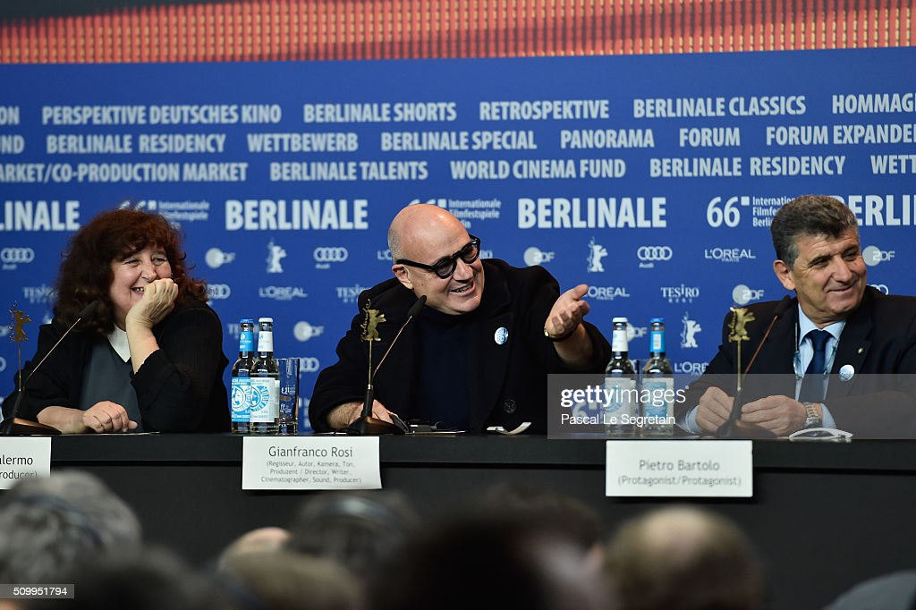 Producer Donatella Palermo, director Gianfranco Rosi and protagonist Pietro Bartolo attend the 'Fire at Sea' (Fuocoammare) press conference during the 66th Berlinale International Film Festival Berlin at Grand Hyatt Hotel on February 13, 2016 in Berlin, Germany.