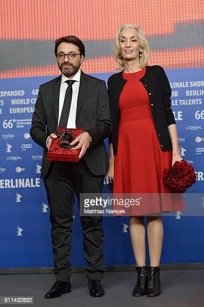 Producer Dora Bouchoucha and director Mohamed Ben Attia winner of the Best First Feature Award for the movie 'Inhebbek Hedi' attend the award winners...