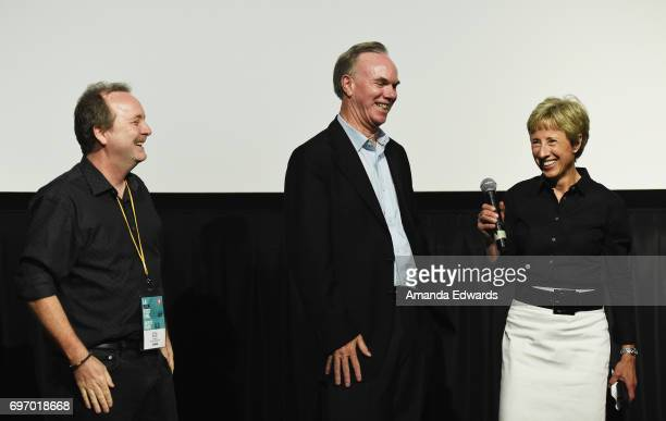 Producer Doug Blush filmmaker Mark Hayes and producer Gabriele Hayes attend the 2017 Los Angeles Film Festival 'Skid Row Marathon' premiere at the...