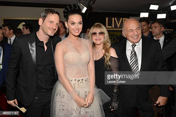 Producer Dr Luke singers Katy Perry Stevie Nicks and Doug Morris attend the 56th GRAMMY Awards at Staples Center on January 26 2014 in Los Angeles...