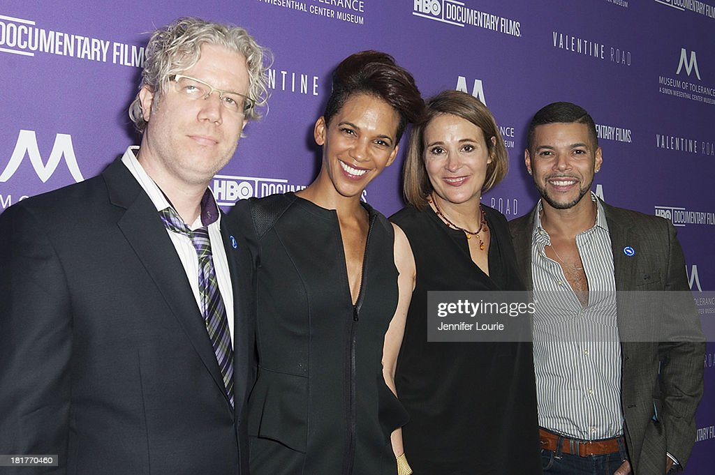 Producer Eddie Schmidt, director Marta Cunningham, producer Sasha Alpert, and actor <a gi-track='captionPersonalityLinkClicked' href=/galleries/search?phrase=Wilson+Cruz&family=editorial&specificpeople=660625 ng-click='$event.stopPropagation()'>Wilson Cruz</a> attend the Los Angeles premiere screening of 'Valentine Road' at The Museum of Tolerance on September 24, 2013 in Los Angeles, California.
