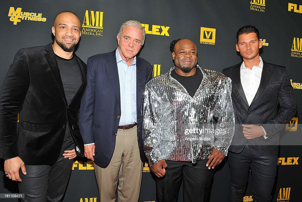 Producer Edwin Mejia, Executive producer Jerome Gary, bodybuilder Kai Green and director/producer <a gi-track='captionPersonalityLinkClicked' href=/galleries/search?phrase=Vlad+Yudin&family=editorial&specificpeople=5451307 ng-click='$event.stopPropagation()'>Vlad Yudin</a> arrive at the Los Angeles premiere of 'GENERATION IRON' at Chinese 6 Theater Hollywood on September 18, 2013 in Hollywood, California.