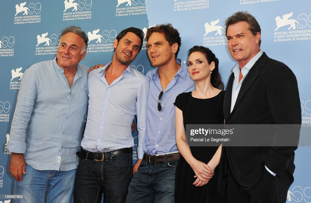 Producer Ehud Bleiberg director Ariel Vromen actor Michael Shannon actress Winona Ryder and actor Ray Liotta attend 'The Iceman' photocall during the...