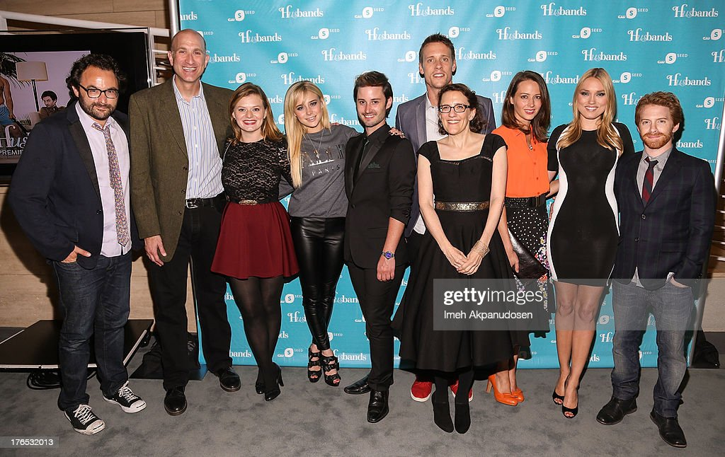 Producer Eli Gonda, writer Jeff Greenstein, actresses Elaine Carroll and Alessandra Torresani, actors Brad Bell and Sean Hemeon, producer Jane Espenson, actresses Amy Acker and Clare Grant, and actor Seth Green attend the premiere of CW Seed's 'Husbands' at The Paley Center for Media on August 14, 2013 in Beverly Hills, California.
