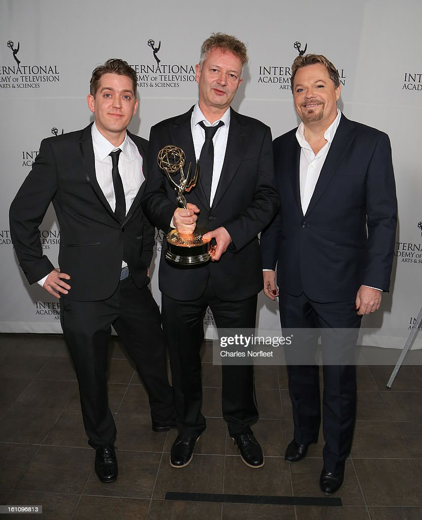 Producer Elliot Jenkins, director John Hay, and principal cast member <a gi-track='captionPersonalityLinkClicked' href=/galleries/search?phrase=Eddie+Izzard&family=editorial&specificpeople=204152 ng-click='$event.stopPropagation()'>Eddie Izzard</a> with the Kids; TV Movie/Mini-Series Emmy Award for 'Lost Christmas' attend The Inaugural International Emmy Kids Awards at The Lighthouse at Chelsea Piers on February 8, 2013 in New York City.