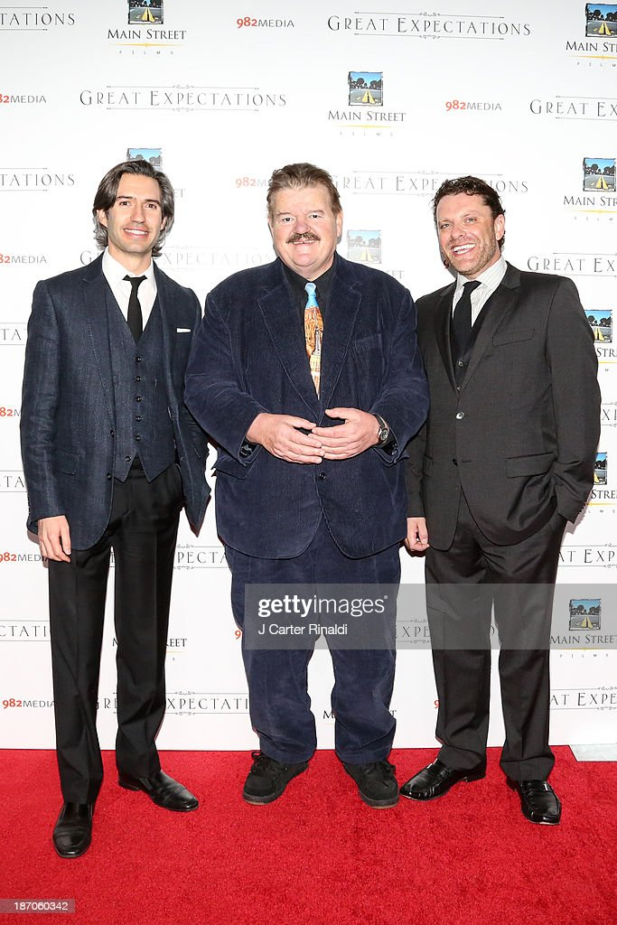 Producer Emanuel Michael, actor <a gi-track='captionPersonalityLinkClicked' href=/galleries/search?phrase=Robbie+Coltrane&family=editorial&specificpeople=644111 ng-click='$event.stopPropagation()'>Robbie Coltrane</a>, and producer David Faigenblum attend the New York premiere of 'Charles Dickens' Great Expectations' at AMC Loews Lincoln Square 13 theater on November 5, 2013 in New York City.