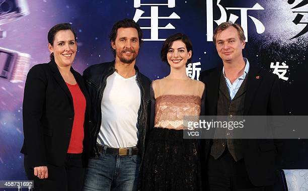 Producer Emma Thomas actor Matthew McConaughey actress Anne Hathaway and director Christopher Nolan attend director Christopher Nolan's film...