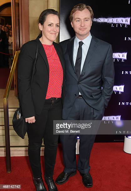 Producer Emma Thomas and director Christopher Nolan attend at a special screening of 'Interstellar Live' at Royal Albert Hall on March 30 2015 in...