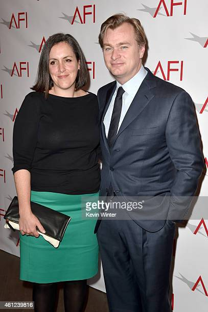 Producer Emma Thomas and director Christopher Nolan attend the 15th Annual AFI Awards at Four Seasons Hotel Los Angeles at Beverly Hills on January 9...
