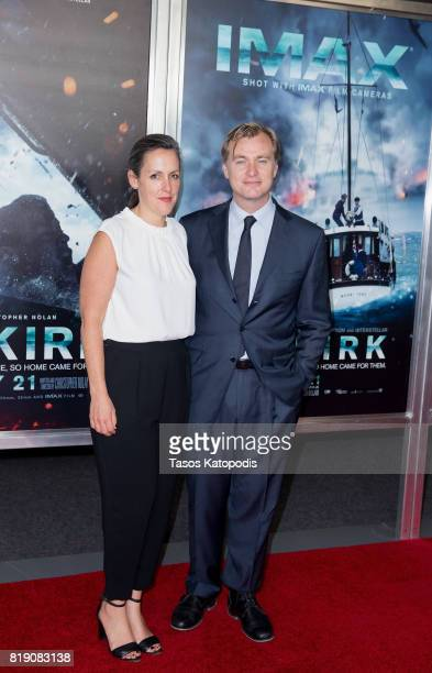 Producer Emma Thomas and Director Christopher Nolan attends the red carpet premiere of 'Dunkirk' at the Smithsonian Museum on July 19 2017 in...