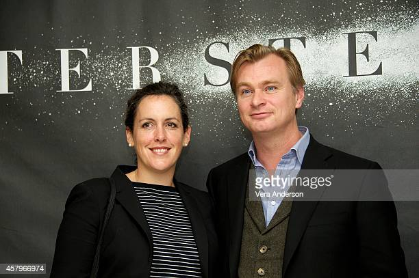 Producer Emma Thomas and WriterDirector Christopher Nolan at the 'Interstellar' Press Conference at the Four Seasons Hotel on October 26 2014 in...