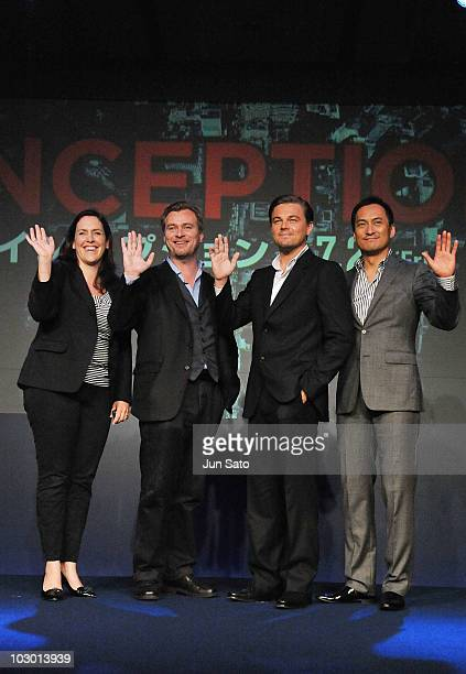 Producer Emma Thomas director Christopher Nolan actors Leonardo DiCaprio and Ken Watanabe pose during the 'Inception' press conference at the...