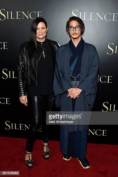 Producer Emma Tillinger Koskoff and actor Yosuke Kubozuka attend the premiere of Paramount Pictures' 'Silence' at Directors Guild Of America on...