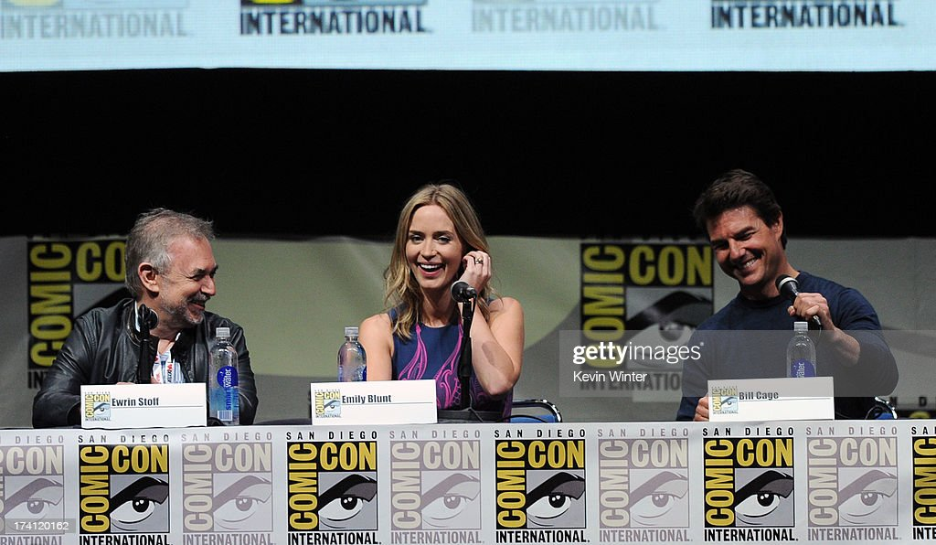 Producer Erwin Stoff, actress Emily Blunt and actor Tom Cruise speak onstage at the Warner Bros. and Legendary Pictures preview of 'Edge of Tomorrow' during Comic-Con International 2013 at San Diego Convention Center on July 20, 2013 in San Diego, California.