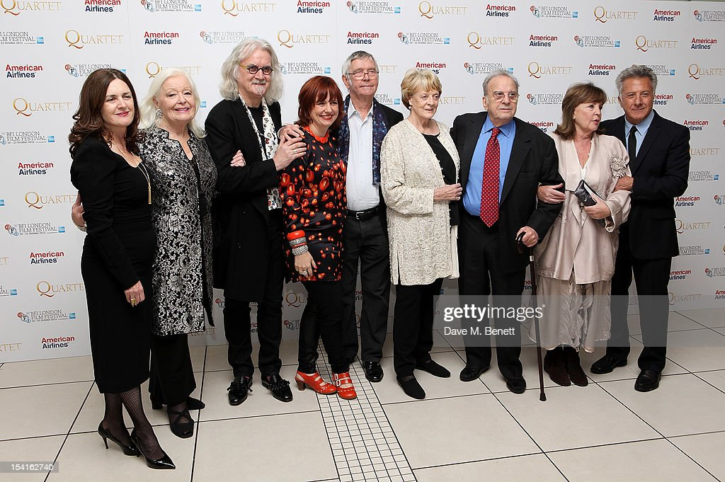 Producer Finola Dwyer, Dame Gwyneth Jones, <a gi-track='captionPersonalityLinkClicked' href=/galleries/search?phrase=Billy+Connolly&family=editorial&specificpeople=208248 ng-click='$event.stopPropagation()'>Billy Connolly</a>, Festival Director Clare Stewart, <a gi-track='captionPersonalityLinkClicked' href=/galleries/search?phrase=Tom+Courtenay&family=editorial&specificpeople=699230 ng-click='$event.stopPropagation()'>Tom Courtenay</a>, Dame <a gi-track='captionPersonalityLinkClicked' href=/galleries/search?phrase=Maggie+Smith&family=editorial&specificpeople=206821 ng-click='$event.stopPropagation()'>Maggie Smith</a>, wirter <a gi-track='captionPersonalityLinkClicked' href=/galleries/search?phrase=Ronald+Harwood&family=editorial&specificpeople=654937 ng-click='$event.stopPropagation()'>Ronald Harwood</a>, Pauline Collins and director <a gi-track='captionPersonalityLinkClicked' href=/galleries/search?phrase=Dustin+Hoffman&family=editorial&specificpeople=171356 ng-click='$event.stopPropagation()'>Dustin Hoffman</a> attend the Premiere of 'Quartet' during the 56th BFI London Film Festival at Odeon Leicester Square on October 15, 2012 in London, England.