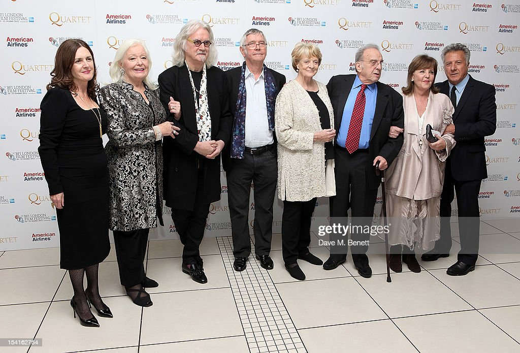 Producer Finola Dwyer, Dame Gwyneth Jones, Billy Connolly, Tom Courtenay, Dame Maggie Smith, wirter Ronald Harwood, Pauline Collins and director Dustin Hoffman attend the Premiere of 'Quartet' during the 56th BFI London Film Festival at Odeon Leicester Square on October 15, 2012 in London, England.