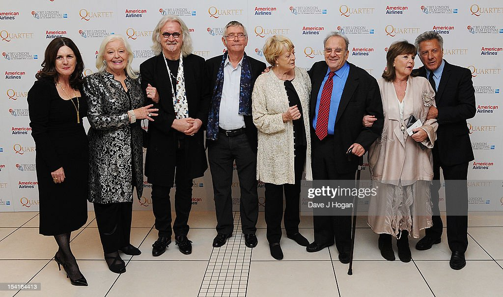 Producer Finola Dwyer, singer Dame Gwyneth Jones, comedian Billy Connolly, actor Tom Courtenay, actress Dame Maggie Smith, Writer Ronald Harwood, actress Pauline Collins and Director Dustin Hoffman attend the premiere of 'Quartet' during the 56th BFI London Film Festival at Odeon Leicester Square on October 15, 2012 in London, England.