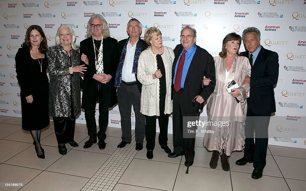 Producer Finola Dwyer, singer Dame Gwyneth Jones, comedian Billy Connolly, actor Tom Courtnay, actress Dame Maggie Smith, Writer Ronald Harwood, actress Pauline Collins and Director Dustin Hoffman attend the premiere of 'Quartet' during the 56th BFI London Film Festival at Odeon Leicester Sqaure on October 15th, 2012 in London, England.