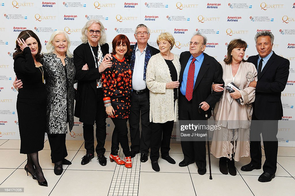 Producer Finola Dwyer, singer Dame Gwyneth Jones, comedian Billy Connolly, Festival Director Clare Stewart, actor Tom Courtenay, actress Dame Maggie Smith, Writer Ronald Harwood, actress Pauline Collins and Director Dustin Hoffman attend the premiere of 'Quartet' during the 56th BFI London Film Festival at Odeon Leicester Square on October 15, 2012 in London, England.