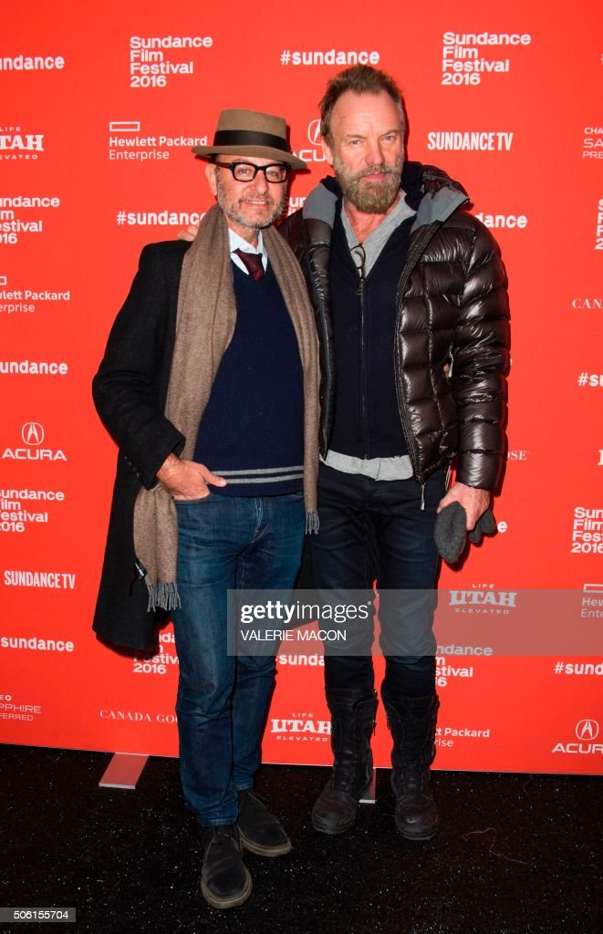 Producer Fisher Stevens (L) and recording artist Sting attend the Premiere of 'SKY