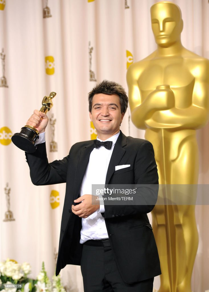 Producer for 'The Artist' Thomas Langmann poses in the press room at the 84th Annual Academy Awards held at the Hollywood Highland Center on February...
