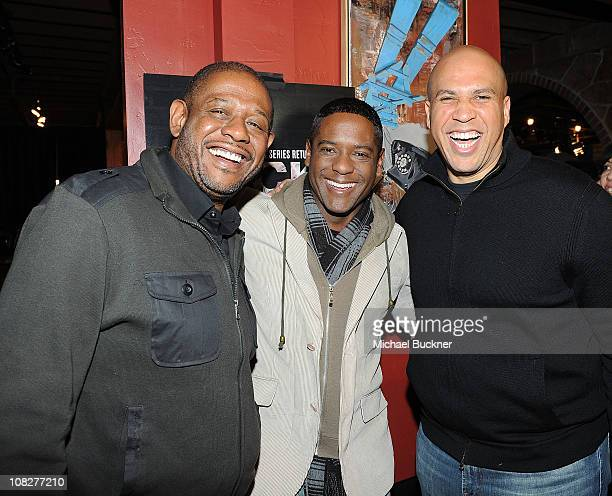 """Producer Forrest Whitaker actor Blair Underwood and Newark Mayor Cory Booker attend a Screening of Sundance Channel's """"Brick City"""" Season 2 followed..."""