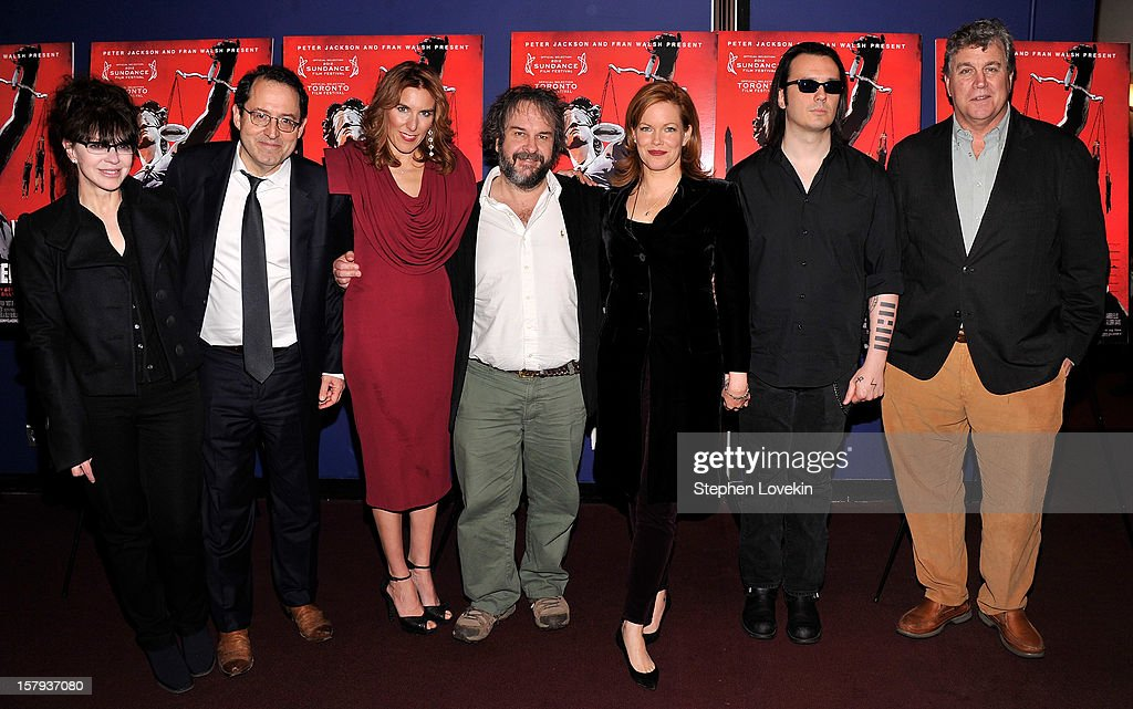 Producer Fran Walsh, Sony Pictures Classics co-president Michael Barker, writer/director Amy Berg, producer Peter Jackson, producer Lorri Davis, film subject Damien Echols, and Sony Pictures Classics co-president Tom Bernard attend the New York premiere of 'West Of Memphis' at Florence Gould Hall on December 7, 2012 in New York City.