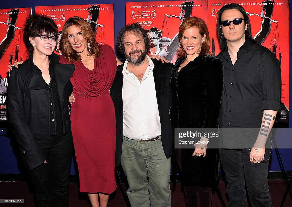 Producer Fran Walsh, writer/director Amy Berg, producer Peter Jackson, producer Lorri Davis, and film subject Damien Echols attend the New York premiere of 'West Of Memphis' at Florence Gould Hall on December 7, 2012 in New York City.