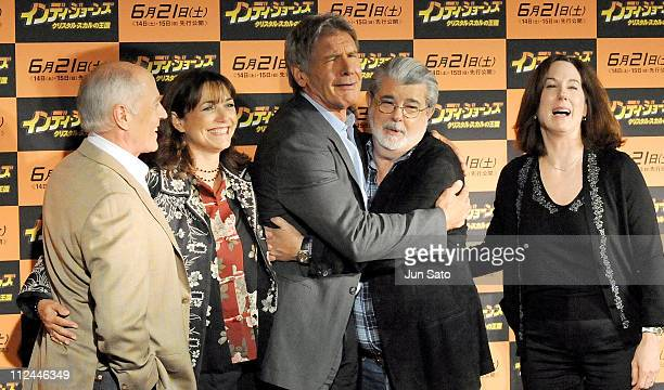 Producer Frank Marshall actors Karen Allen Harrison Ford excutive producer/writer George Lucas and producer Kathleen Kennedy attend 'Indiana Jones...