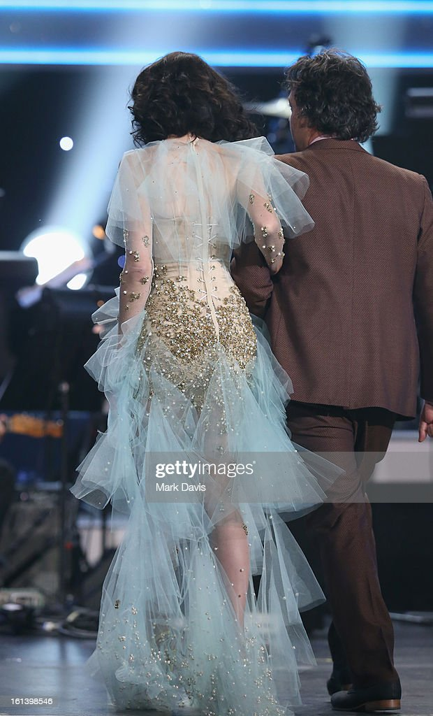 Producer François Tétaz and singer Kimbra onstage during the 55th Annual GRAMMY Awards Pre-Telecast at Nokia Theatre L.A. Live on February 10, 2013 in Los Angeles, California.