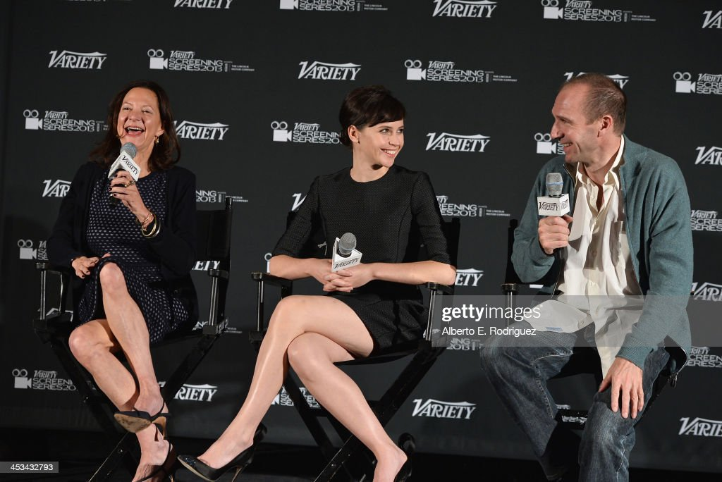 Producer Gabrielle Tana, actress Felicity Jones and actor Ralph Fiennes attend the 2013 Variety Screening Series of 'The Invisible Woman' at ArcLight Cinemas on December 3, 2013 in Hollywood, California.