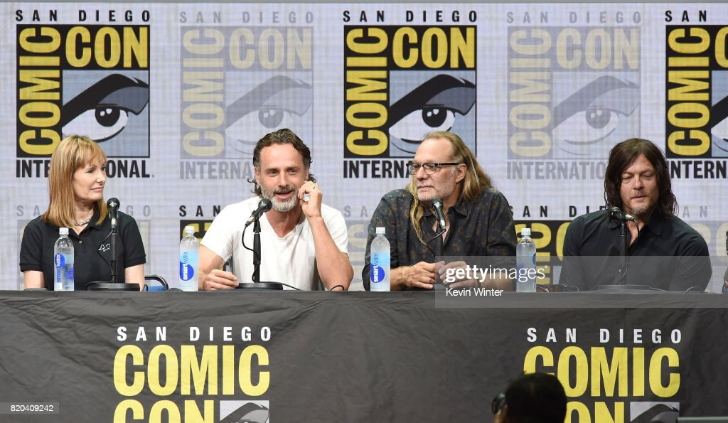 Producer Gale Anne Hurd, actor Andrew Lincoln, producer/director Greg Nicotero, and actor Norman Reedus speak onstage at Comic-Con International 2017 AMC's 'Fear The Walking Dead' Panel at San Diego Convention Center on July 21, 2017 in San Diego, California.