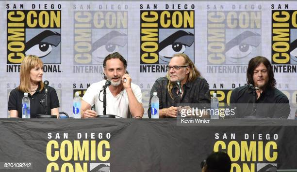 Producer Gale Anne Hurd actor Andrew Lincoln producer/director Greg Nicotero and actor Norman Reedus speak onstage at ComicCon International 2017...